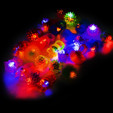 AC809 LED Flashing Jelly Rings - Assorted Styles and Colors 24ct Light Up](Light Up Jelly Rings)