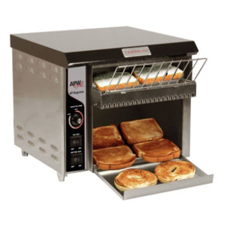 APW Wyott AT EXPRESS Conveyor Toaster Radiant 120V These commercial conveyor toasters are constructed of stainless steel.  These food prep equipment pieces produces over 300 slices per hour.  These commercial conveyor toasters feature  cool touch  which keeps exterior at a cool temperature, preventing employees from being burned when touching.  The commercial appliance is designed to fit in small spaces.  These commercial conveyor toasters have a two year on site parts and labor warranty.