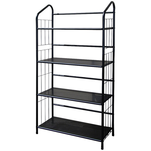 Metal Grid 4-Shelf Open Bookcase, Black