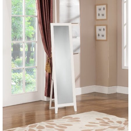 Kings Brand White Finish Wood Frame Floor Standing (Mirror Band)