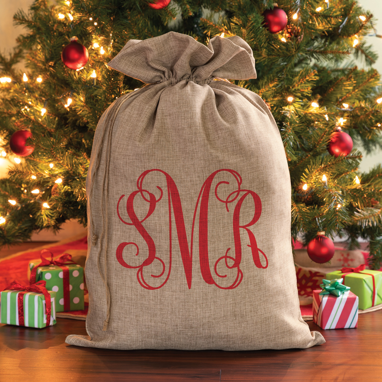 Vine Monogram Personalized Burlap Santa Sack