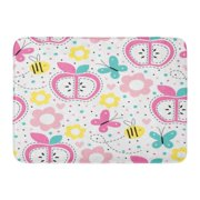 GODPOK Adorable Colorful Butterfly Apple Pattern Pink Cute Animal Rug Doormat Bath Mat 23.6x15.7 inch