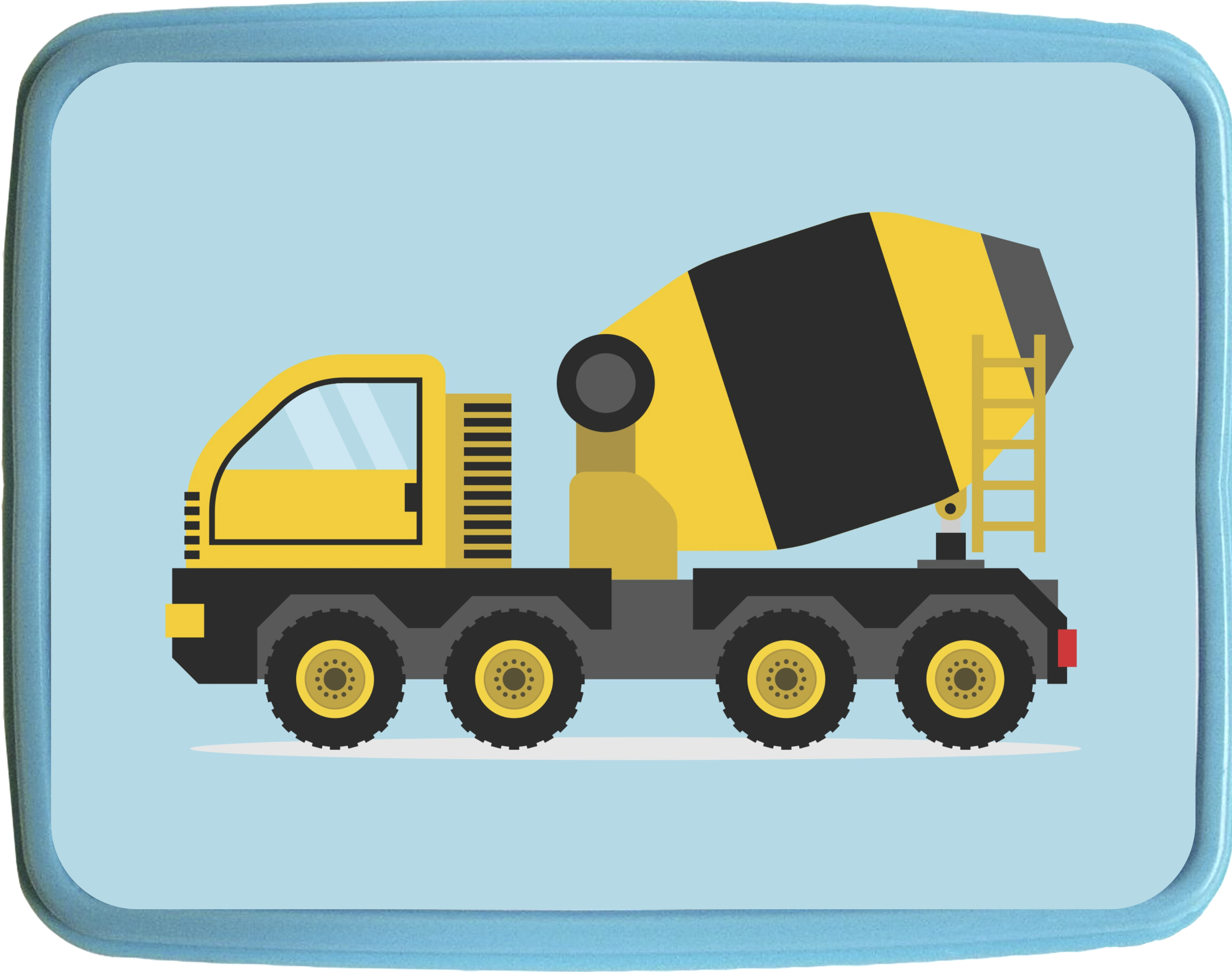 "Cement Mixer Truck Boys 7"" x 9"" Blue Plastic Reusable Children's Lunch Box by Accessory Avenue"