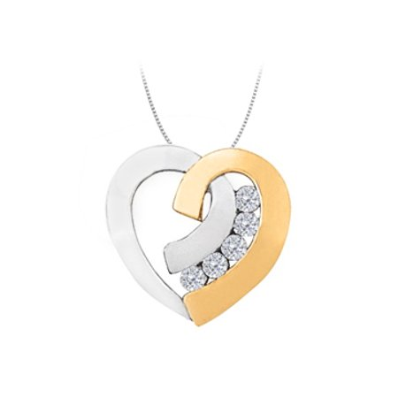 April birthstone Two Tone Channel Set Diamond Heart Pendant in 14K Gold 0.40 CT TDW - image 1 de 2
