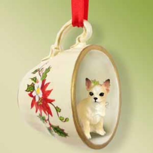 TCD06B Chihuahua Tan & White Tea Cup Red Holiday Ornament