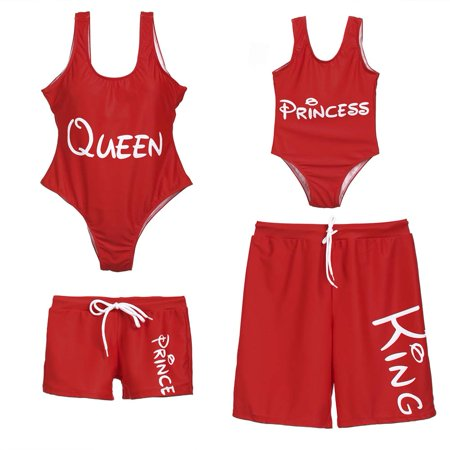 9c803852e9 CHRONSTYLE - Family Matching Swimsuit Mother Daughter King Queen Princess  Prince One Piece Beach Wear Letter Printed Sporty Monokini Bathing Swimwear  ...