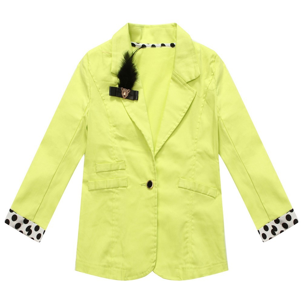 Richie House Little Girls Yellow Black Polka Dot Cuffs Lapel Clip Jacket 3-6