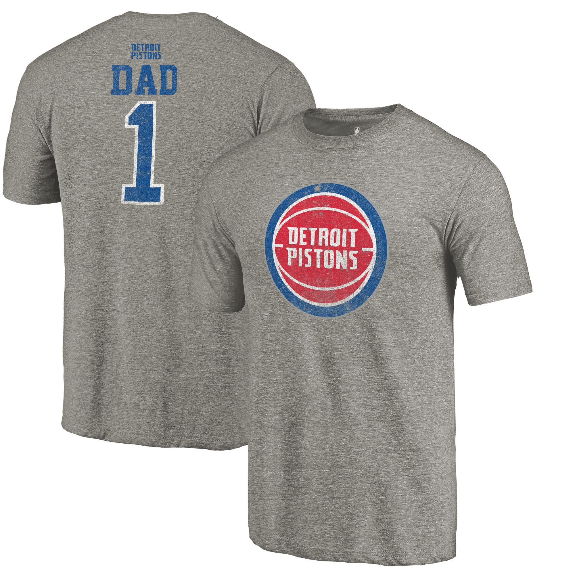 Detroit Pistons Fanatics Branded Greatest Dad Tri-Blend T-Shirt - Gray