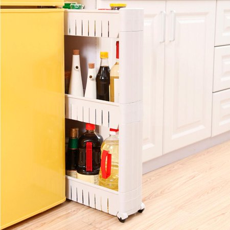 Yaheetech Storage Organizer 3 Tier Slide Out Castor Rack White