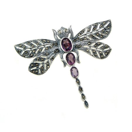 Sterling Silver Dragonfly Pin (Sterling Silver Marcasite Dragonfly Pin Brooch w/ Purple)