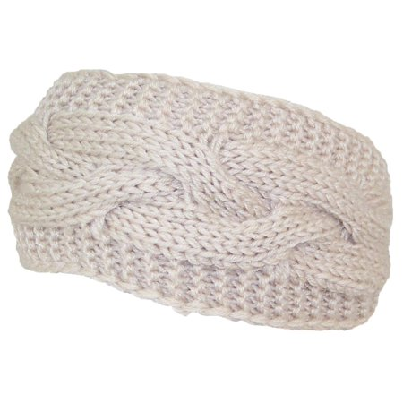 Best Winter Hats Solid Color Cable & Garter Stitch Knit Headband (One Size) -