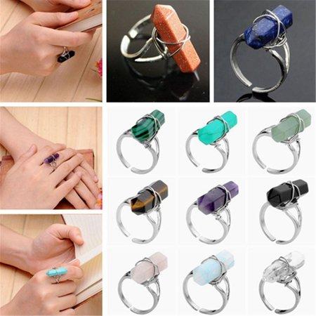Fashion Hexagon Prism Crystal Gemstone Bead Wire Wrap Finger Ring Adjustable