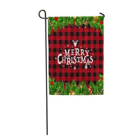 NUDECOR Green Tartan Christmas Red Ball Berry Black Border Branch Garden Flag Decorative Flag House Banner 28x40 inch - image 1 de 1