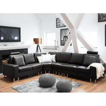 Astonishing Modern Reversible Corner Sofa Black Leather Adjustable Headrests Stockholm Caraccident5 Cool Chair Designs And Ideas Caraccident5Info