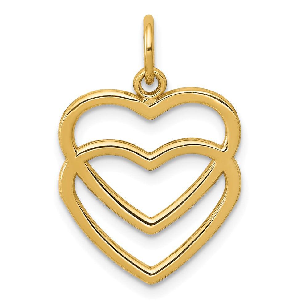 14k Yellow Gold Double Heart Pendant