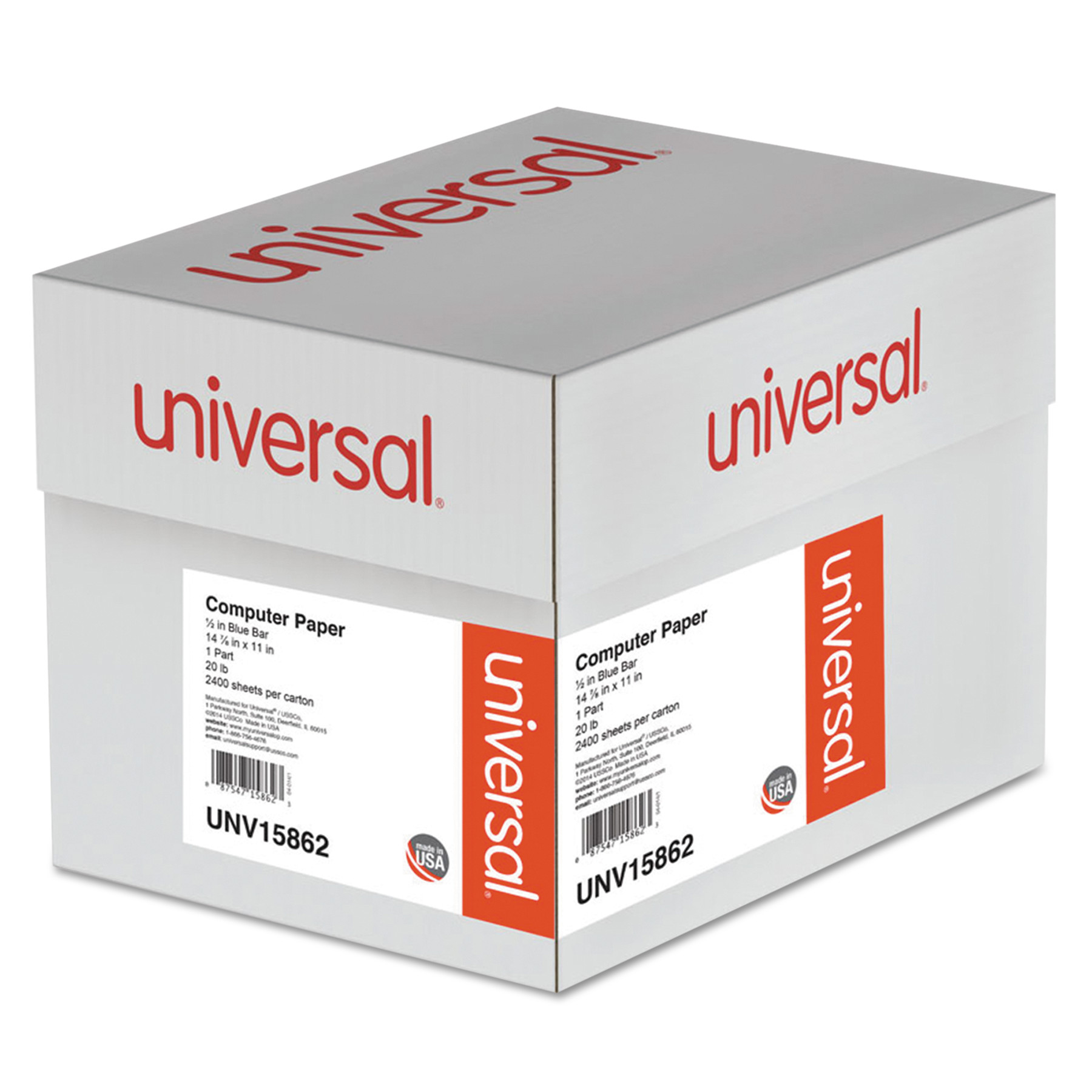 Universal Blue Bar Computer Paper, 20lb, 14-7/8 x 11, Perforated Margins, 2400 Sheets