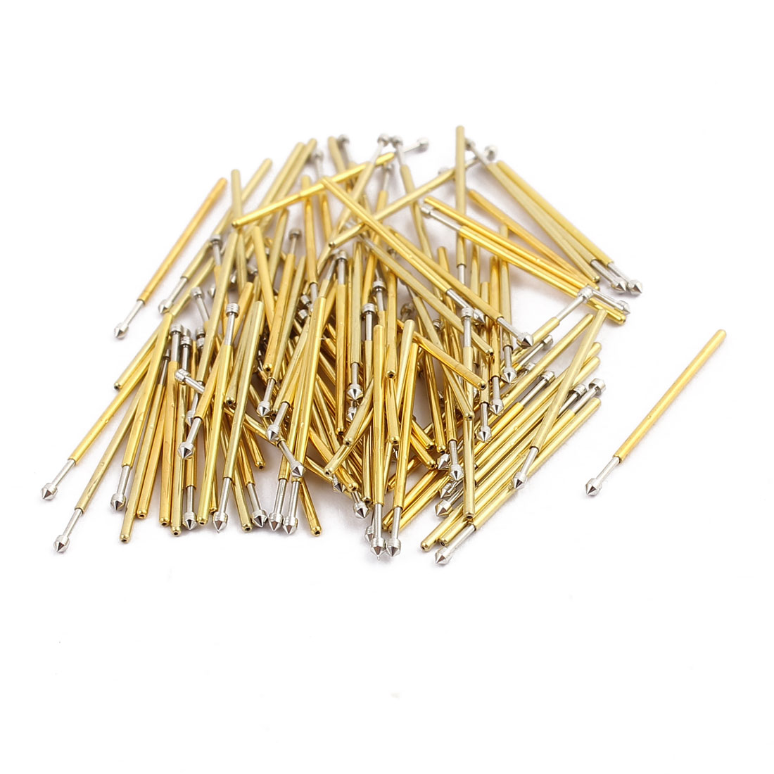 100pcs P50-E2 0.68mm Dia 16.5mm Length Metal Spring Pressure Test Probe Needle