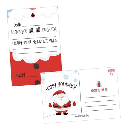 25 Christmas Holiday Kids Thank You Cards, Santa Fill In the Blank Thank You Notes, Personalized Card For Birthday Party or Christmas Gifts, Stationery For Children Boys and - Personalized Birthday Cards