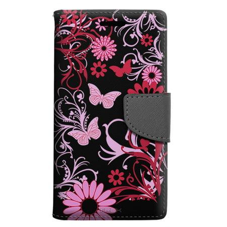 Samsung Galaxy J3 Luna Pro Wallet Case - Pink Butterfly on Black