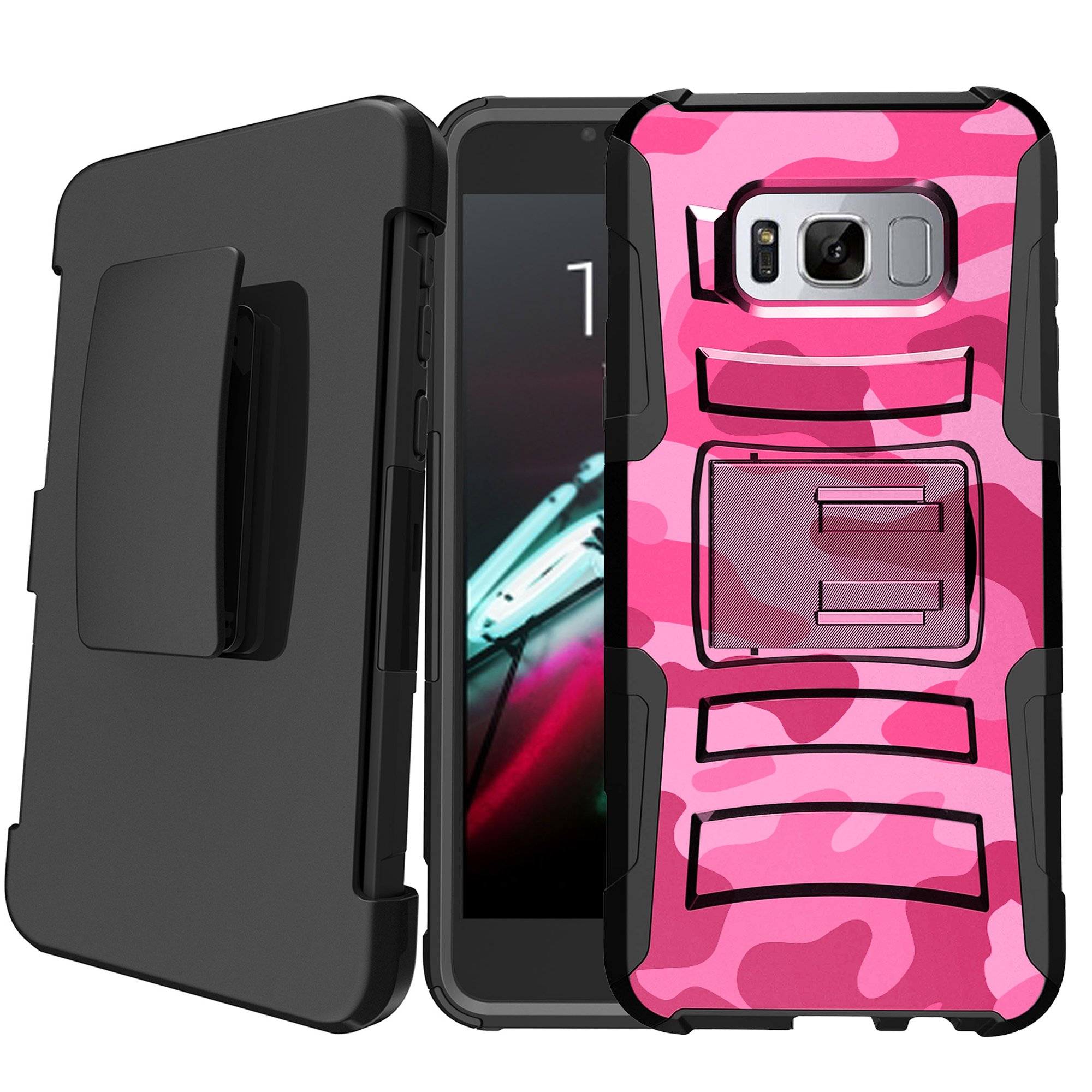 Samsung Galaxy S8 SM-G950 Holster Case [Camo Case][Camouflage Phone Case Series] w/ Built-In Kickstand + Bonus Holster - Plain Black /No Design