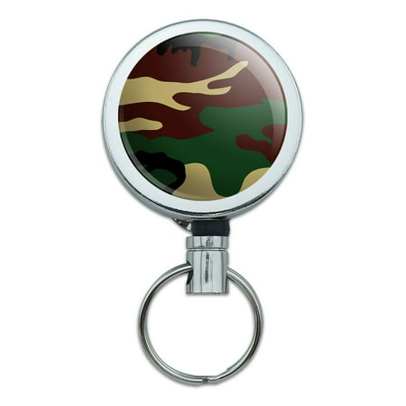 Camouflage Army Soldier Retractable Belt Clip Badge Key Holder