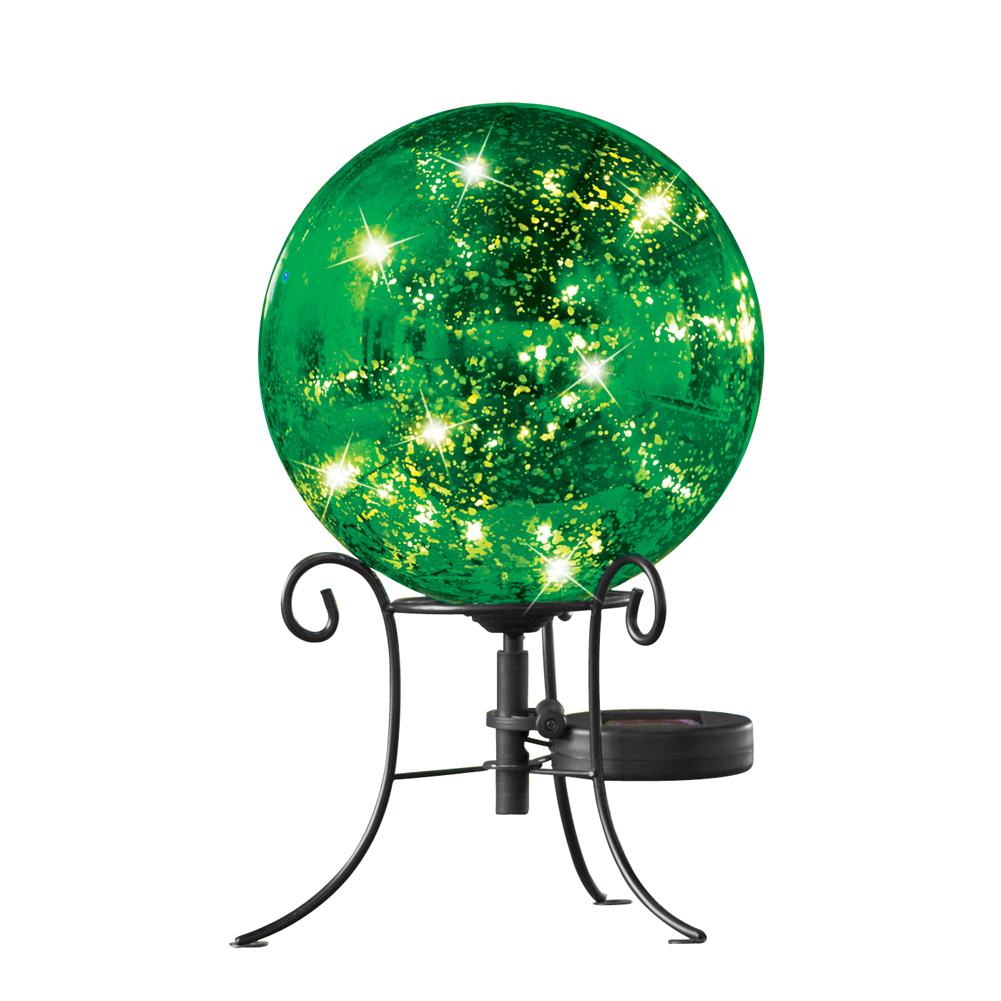 Faux Mercury Solar Gazing Ball With Stand, Green