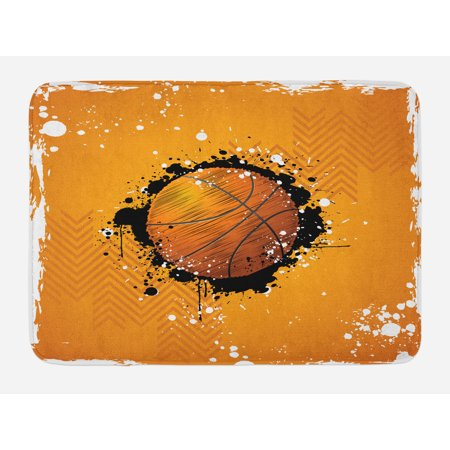- Basketball Bath Mat, Basketball and Paint Splashes on Abstract Grungy Background Sport Theme Print, Non-Slip Plush Mat Bathroom Kitchen Laundry Room Decor, 29.5 X 17.5 Inches, Orange Black, Ambesonne