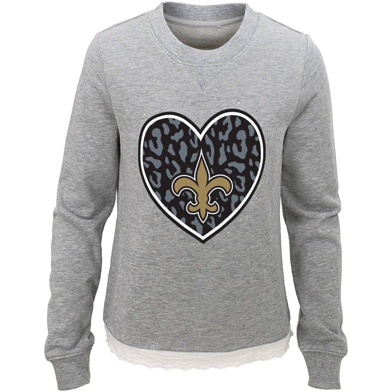 NFL Girls Saints Long Sleeve French Terry Crew Neck Fleece