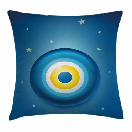 Evil Eye Throw Pillow Cushion Cover  Vivid Illustration All Seeing Eye Energy Fantasy Magic Religious Talisman  Decorative Square Accent Pillow Case  24 X 24 Inches  Blue White Yellow  By Ambesonne