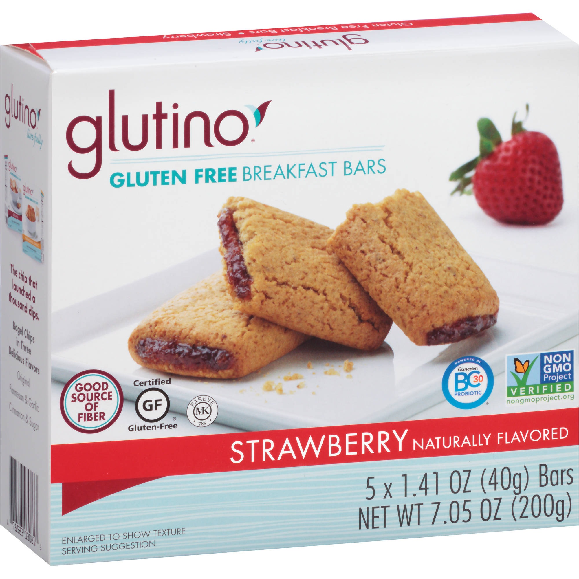 Glutino Strawberry Gluten Free Breakfast Bars, 1.41 oz, 5 count