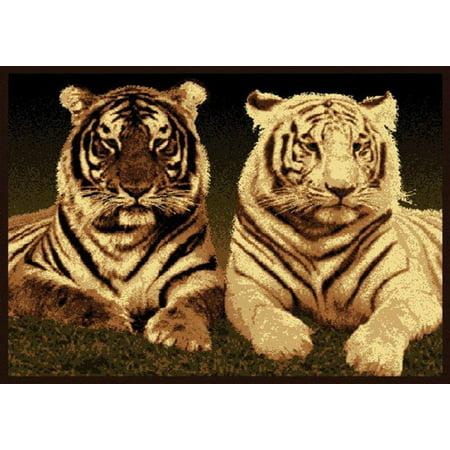 Designer Home Epoch Area Rugs - 910-01650 Novelty Black Nature Tiger Animals Africa Rug 5