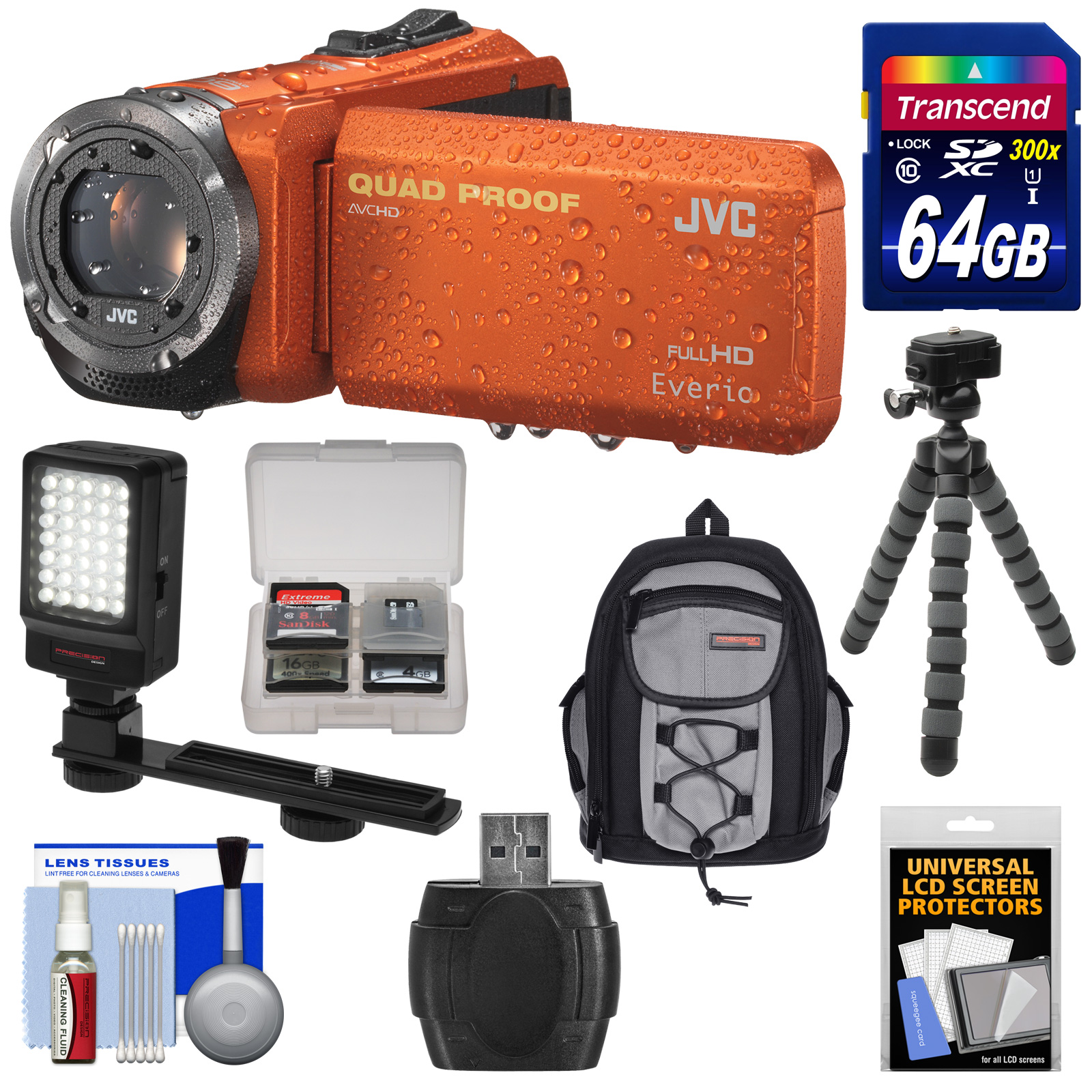 JVC Everio GZ-R320 Quad Proof Full HD Digital Video Camera Camcorder (Orange) with 64GB Card + Backpack Case + Flex Tripod + LED Light + Kit