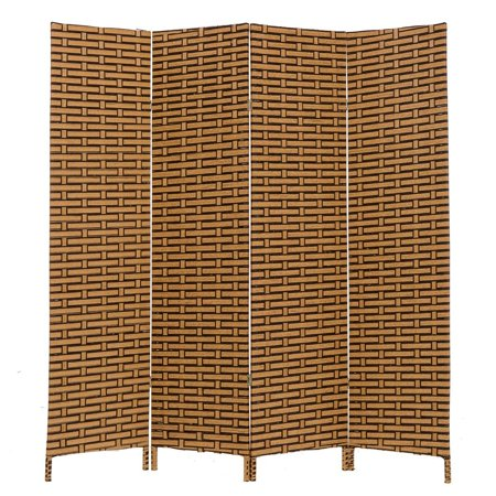 THY COLLECTIBLES Decorative Freestanding Woven Bamboo 4 Panels Hinged Privacy Panel Screen Portable Folding Room Divider