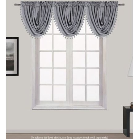 HOLLYWOOD 1-Piece  SILVER GREY   Waterfall Rod Pocket Window Valance with Decorative Trim 55