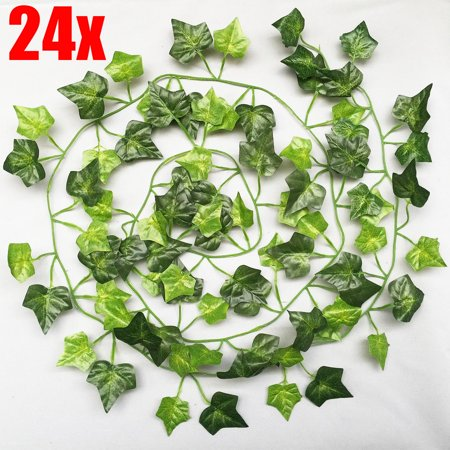12/24 Pcs Artificial Flowers 7ft Ivy Vine Green Leaf Vine Garland for Wedding Party Home Garden Wall Decor