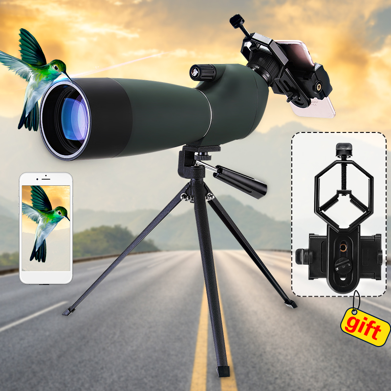 25-75X70 Magnification Day/Night Vision HD Zoom Monocular Spotting Scope Waterproof BAK4 Eyepiece Astronomical Telescope with Tripod + Phone Adapter + Storage Bag