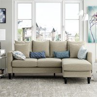 Dorel Living Keaton Reversible Sectional with Pillows, Beige