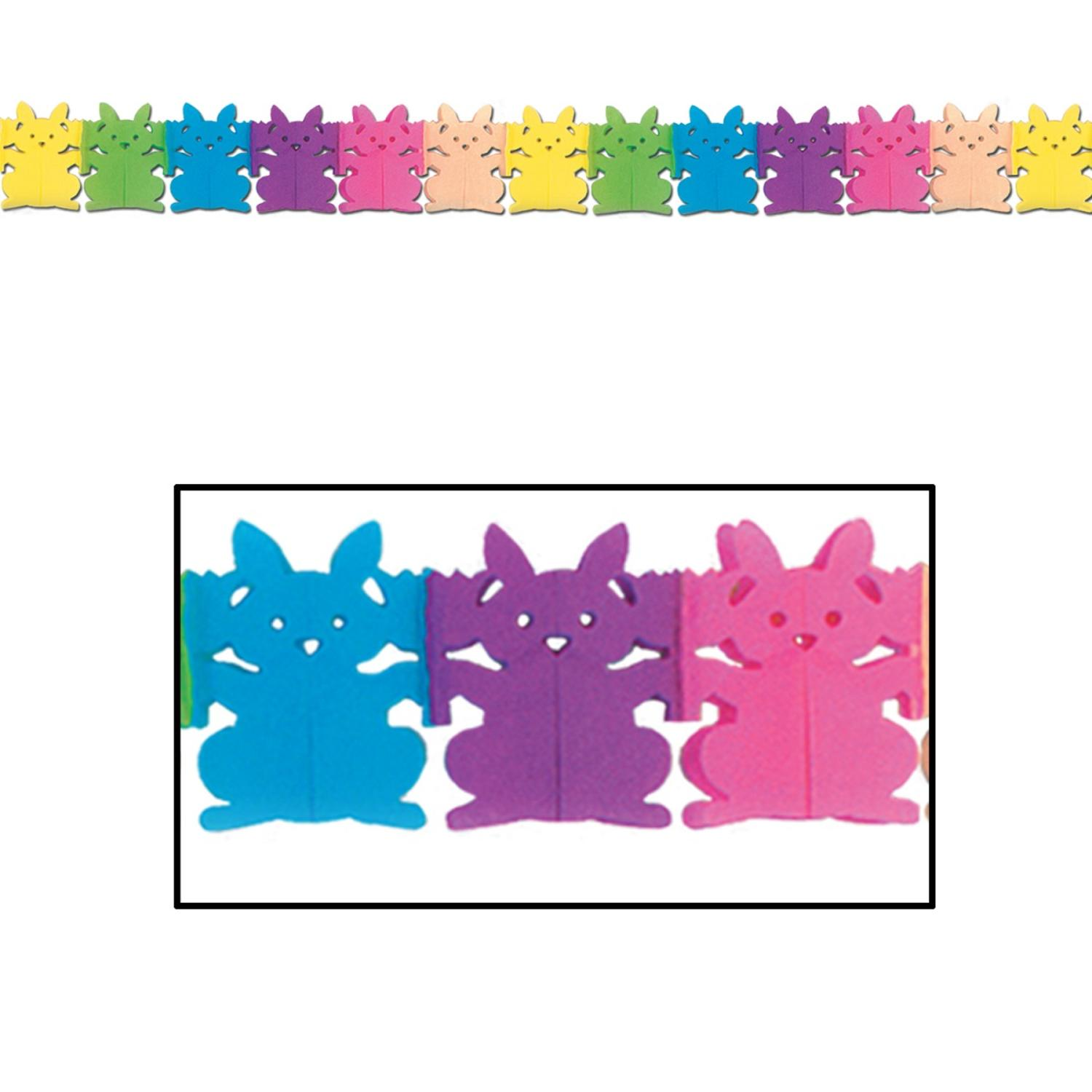 Club Pack of 12 Multi-Colored Easter Themed Tissue Bunny Garland Party... by Party Central