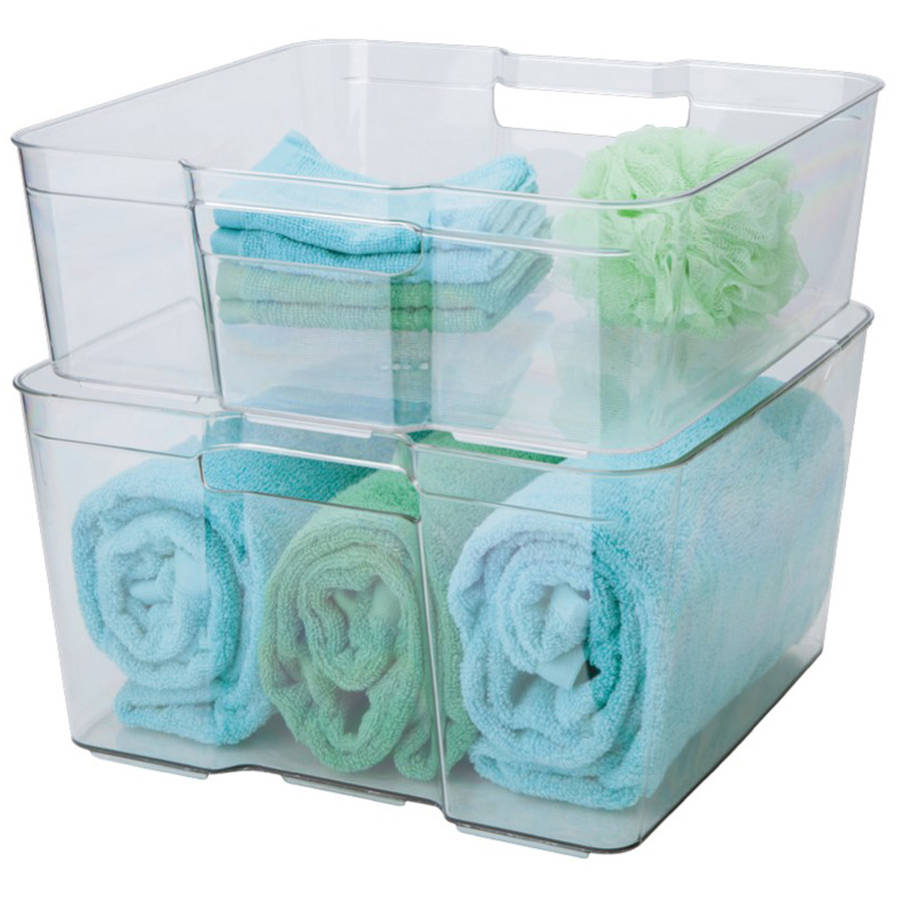 Stacking Closet Bins, Set of 2, Clear