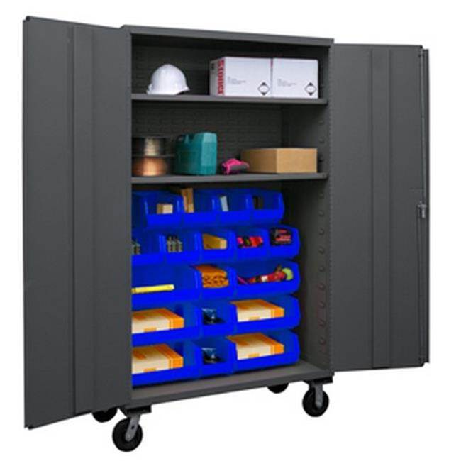 48 in. 16 Gauge Flush Door Style Lockable Mobile Storage Cabinet with 18 Blue Hook on Bins & 2 Adjustable Shelves, Gray