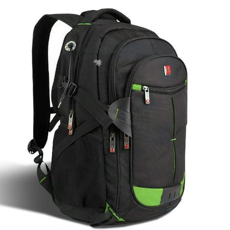 Men Backpack 15-17 Laptop Notebook Shoulder Bag Black Outdoor School Travel, WMLS4413