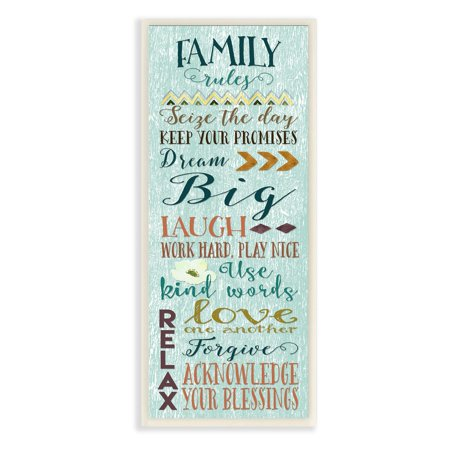 The Stupell Home Decor Collection Family Rules Modern Wall Plaque ()