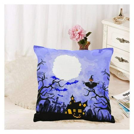 GCKG Halloween Pumpkin,Orange Pumpkin Tree Branch Pillowcase 18x18 inches Bat Moon Blue Pillow Cover Case - image 1 of 4