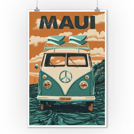 Maui, Hawaii - VW Van - Letterpress - Lantern Press Artwork (9x12 Art Print, Wall Decor Travel Poster) (Vintage Hawaii Poster Art)