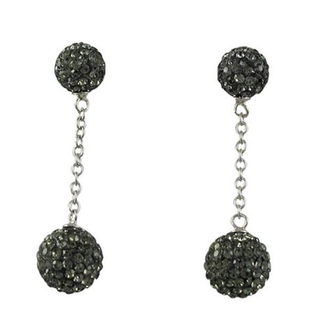 Gray Gemstone Earrings - Dlux Jewels Gold & Gray Crystal Ball Earrings