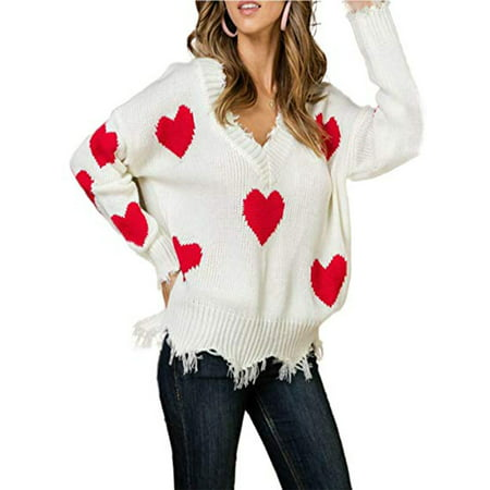 Sexy Dance Women's Cute Heart Pattern Patchwork Casual Long Sleeve V Neck Knits Sweater Pullover Jumper