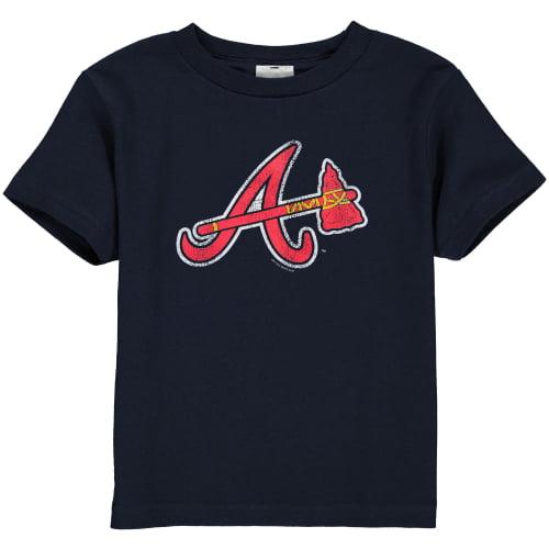 Atlanta Braves Toddler Navy Blue Distressed Logo T-shirt