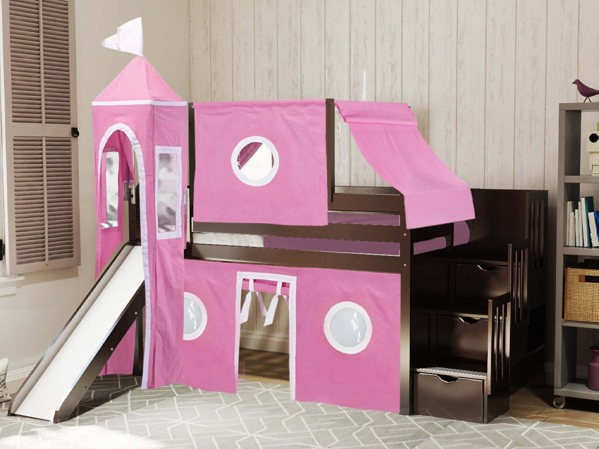 Jackpot Princess Low Loft Stairway Bed With Slide Pink White