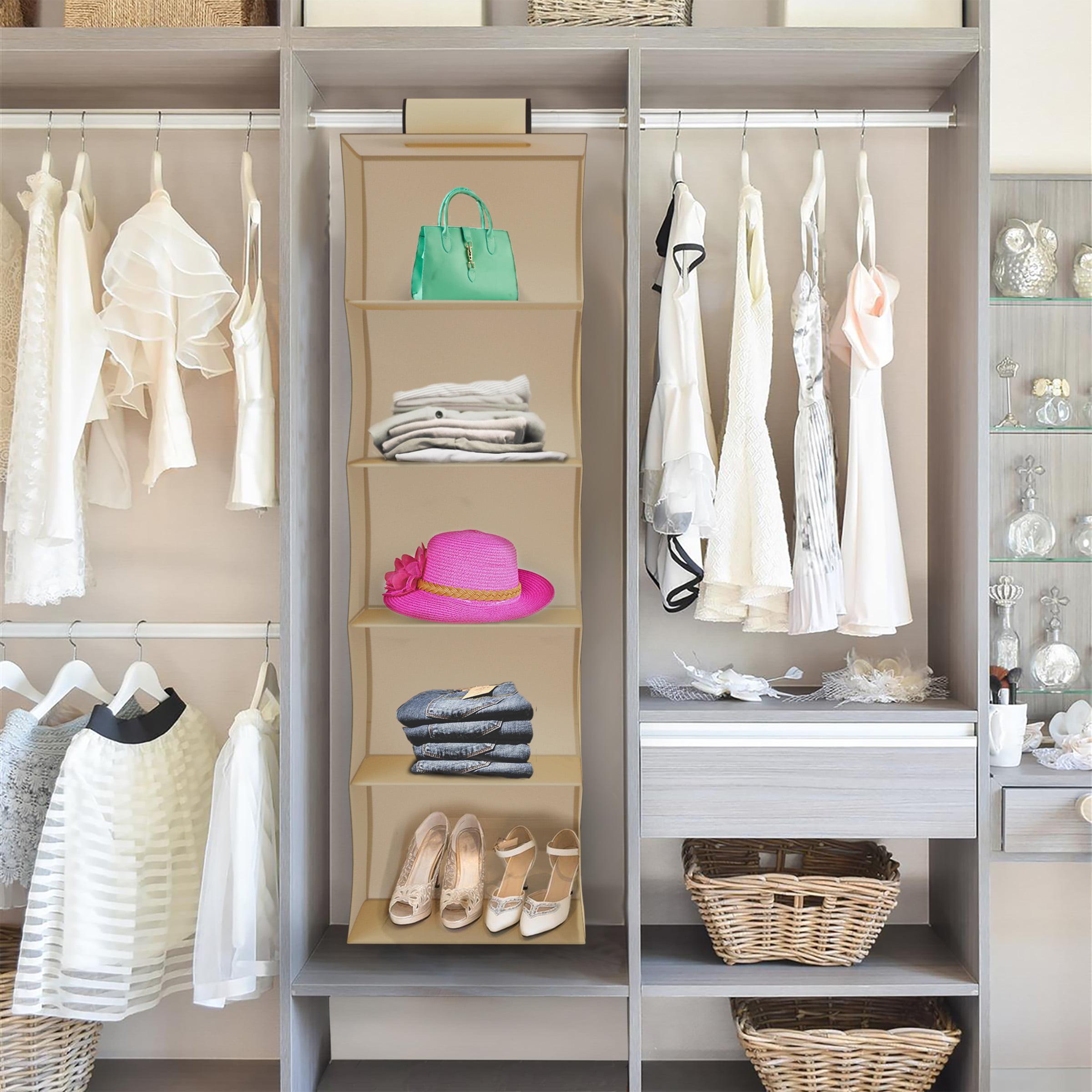 Hanging Closet Organizer-5 Shelf Storage- Space Saving for Small Homes, Dorms, Apartments- Bedroom, Bathroom, or Nursery Essentials by Lavish Home