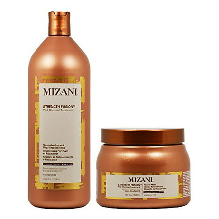 Mizani Strength Fusion Post-Chemical Treatment Strengthening and Repairing Shampoo 33.8oz + Recover Mask 16.9oz
